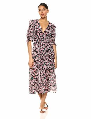The Kooples Women's Women's Wrap Dress in a Candy Flower Print Pink/Black 2