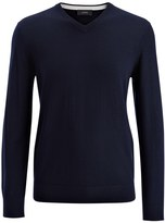 Merinos + Suede Patch V Neck Sweater In Navy