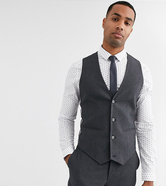 ASOS DESIGN Tall skinny suit suit vest in charcoal