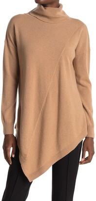 Donna Karan Cowl Neck Asymmetric Hem Cashmere Sweater