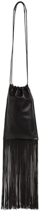 Jil Sander Xs Flat Leather Drawstring Bag W/ Fringe