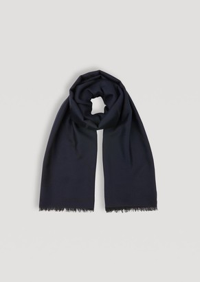 Emporio Armani Pure Wool Scarf With Embroidered Logo And Frayed Hems