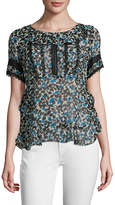 Anna Sui Women's Printed Floral Silk Blouse