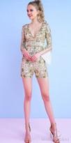 Mac Duggal Plunging V-Shape Long Sleeve Sequin Romper