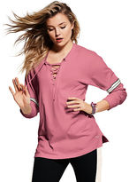 PINK Lace-Up Long Sleeve Campus Tee