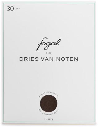 Dries Van Noten X Fogal Dark Brown Floral Tights