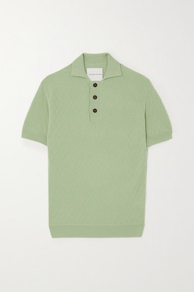 KING & TUCKFIELD Jacquard-knit Merino Wool Polo Shirt - Mint