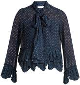 See by Chloe Floral-print tie-neck crepe blouse
