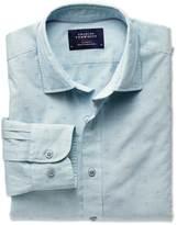 Charles Tyrwhitt Extra slim fit green and blue poplin dobby spot shirt