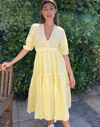 Monki Sara seersucker puff sleeve dress in yellow
