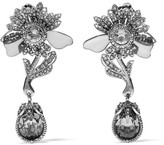 Alexander McQueen Silver-tone, Crystal And Plexiglas® Clip Earrings - one size