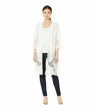 Collection XIIX Women's Mesh Embroidered Long Kimono