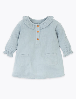 Marks and Spencer Cotton Frill Collar Woven Dress (0-3 Yrs)