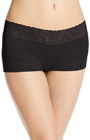 Maidenform Women's Dream Cotton with Lace Boyshort, Black, 5