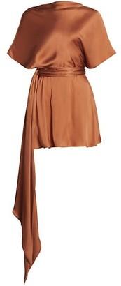 Brandon Maxwell Boatneck Silk Mini Dress