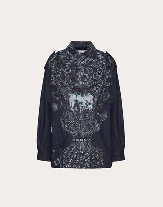 Valentino Printed Denim Jacket Women Blue Cotton 100% 40