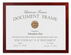 """Lawrence Frames Walnut Wood Certificate Picture Frame - Gallery Collection - 8.5"""" x 11"""""""