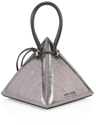 Nita Suri Lia Volcanic Pyramid Leather Top Handle Bag
