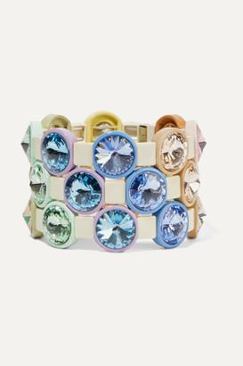 Roxanne Assoulin Rainbow Lite Set Of Three Enamel And Crystal Bracelets