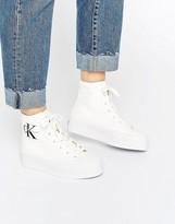 Calvin Klein Jeans Zabrina White Canvas Hi Top Sneakers