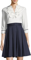 Eliza J Appliqué-Trim Pleated Shirtdress