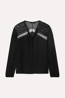 Rag & Bone Tommi Mesh-paneled Silk Crepe De Chine Blouse - Black