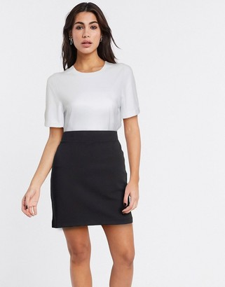 Selected kelly mid waist bodycon skirt in black