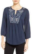 Caslon Embroidered Peasant Top (Regular & Petite)