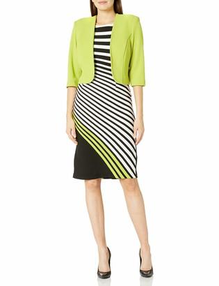 Maya Brooke Women's Asymmetrical Stripe Jacket Dress
