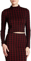 Necessary Objects Checkered Knit Crop Top