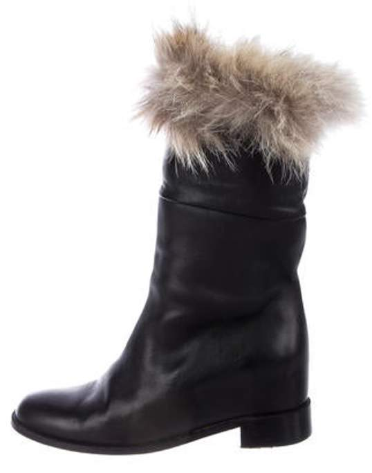 a3cfe4b0ff3 Fur-Trimmed Leather Boots Black Fur-Trimmed Leather Boots