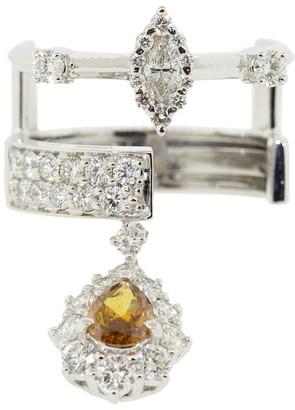 YEPREM 18kt White Gold Diamond Dangle Ring