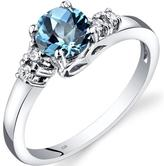 Ice 1 1/8 CT TW Swiss Blue Topaz 14K White Gold 5-Stone Ring with Diamond Accents