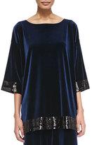 Joan Vass Velour Sequin-Trimmed Tunic, Navy, Plus Size