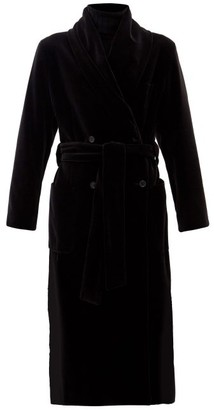 Dolce & Gabbana Gathered-collar Waist-sash Cotton-velvet Coat - Black