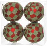 "Vickerman 47"" Check Glitter Ball Ornament 4 per Box"