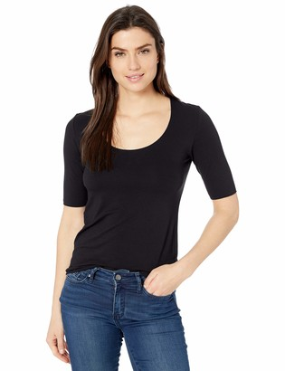 Majestic Filatures Women's Soft Touch Elbow Sleeve Marrow-Edge Scoop Neck