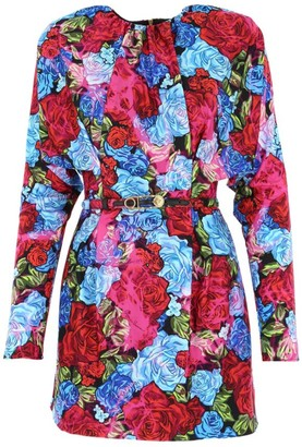 Versace Tie Dye Rose-Print Belted Sheath Dress