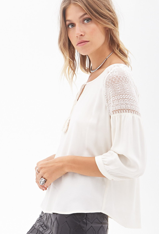 Forever 21 Crochet Lace Peasant Top