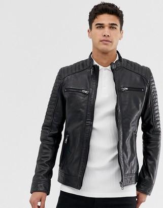 Barneys New York Barneys Originals Barney's original real leather 4 pocket biker jacket-Black