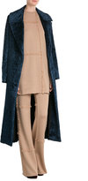 MSGM Virgin Wool Wide Leg Pants with Fringing