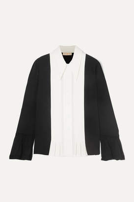 Tory Burch Pleated Paneled Silk Crepe De Chine And Crepe Shirt - Black