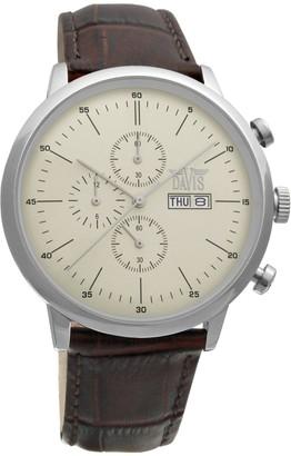 Davis 1950 - Mens Sport Watch Classic Retro Chronograph Waterresist 50M Beige Dial Day Date Brown Leather Strap