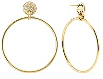 Michael Kors Frontal Large Hoop Earrings in 14K Gold-Plated Sterling Silver or Black Ruthenium-Plated Sterling Silver