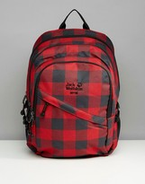 Jack Wolfskin Dayton Red Check Backpack In Red