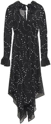 Maje Asymmetric Ruffled Printed Georgette Dress
