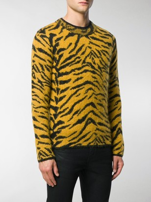 Saint Laurent Zebra Intarsia Sweater