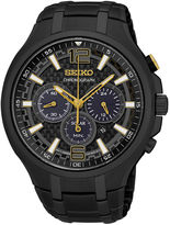 Seiko Recraft Mens Black Chronograph Solar Bracelet Watch