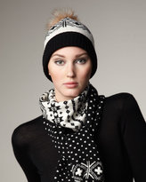 Fair Isle Cashmere & Fox Hat, Black