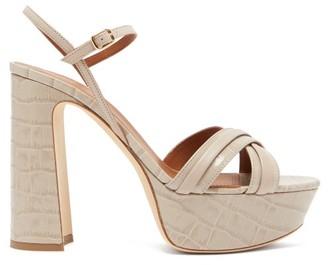 Malone Souliers Mila Crocodile-effect Leather Platform Sandals - Womens - Grey